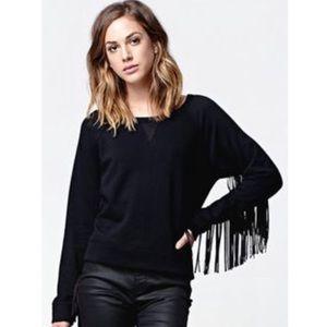 NWT Kendall & Kylie Black fringe sleeve sweatshirt
